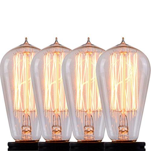Glas-postfach Antike (costway 4x 60W Retro Leuchtmittel ST64Glühlampe E27Vintage Antik Stil Edison Eichhörnchen Käfig Licht)