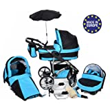 Twing, 3-in-1 Travel System with Baby Pram, Car Seat, Pushchair & Accessories (3in1 Travel System -Baby tub, Sport seat, Car seat, Black & Turquoise)