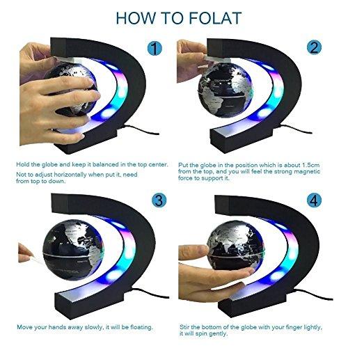 C levitazione magnetica LED Rotating Globe World Map sfera galleggiante Globe Decorazione Della Casa Regali Compleanno Imparare l'istruzione Insegnamento Ufficio - 3