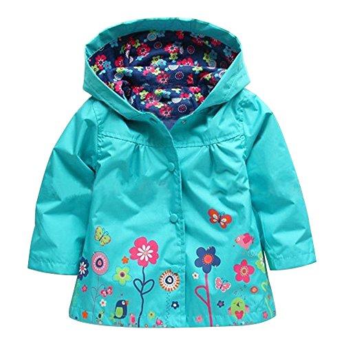 KINDOYO Little Girls Windproof & Waterproof Hooded Coat Raincoat Outwear Jacket Windbreaker for Kids