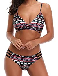Sexyville Femme Maillot de Bain Deux Pièces Push-Up Rembourré Bikini à Bowknot Imprimé Eté Swimwear plage (Rose, L)