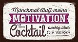 Grafik-Werkstatt VintageArt Manchmal läuft Meine Motivation mit Einem Cocktail nackig über die Wiese Cardboard, Pappe, bunt 22 x 12 cm