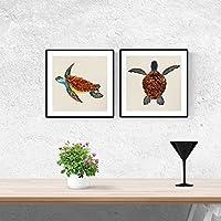 PACK de láminas para enmarcar DOS TORTUGAS. Posters cuadrados con imágenes de tortugas. Decoración de hogar. Láminas para enmarcar. Papel 250 gramos alta calidad