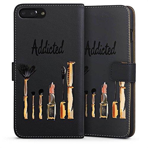 Apple iPhone 8 Tasche Hülle Flip Case Make Up Kosmetik Lippenstift Sideflip Tasche schwarz