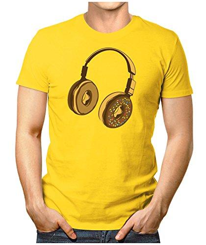 PRILANO Herren Fun T-Shirt - HEADPHONE-DONUT - Small bis 5XL - NEU Gelb