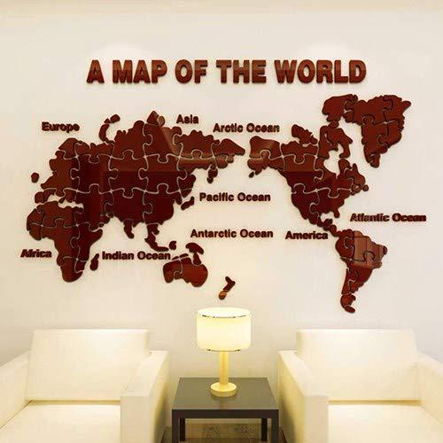Neue Weltkarte Acryl 3D feste Wandaufkleber Büro Schlafzimmer Hintergrundbild Wohnzimmer, 022 Welt Puzzle 1- alle Kaffee, in