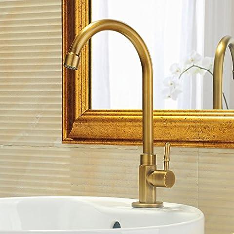 Orgsev El cobre antiguo único grifo fría vanidad BasinSink Tops baño grifos FaucetsBathroom
