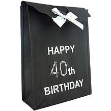 40th grande bolsa de regalo de cumpleaños feliz cumpleaños negro con diamantes