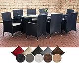 CLP Polyrattan Sitzgruppe AVIGNON BIG   Garten-Set: 1x Tisch und 8 Gartenstühle inkl. Sitzauflagen   In verschiedenen Farben erhältlich Rattanfarbe: Schwarz, Bezugfarbe: Cremeweiß
