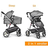 Besrey Baby Pram Pushchair Stroller 2 in 1, Luxury Sit and Sleep Stroller for Baby and Infant, (0-36 Months) with Rain Cover, Grey