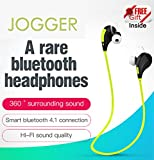 #10: Jogger® Original QY7 Professional Bluetooth 4.1 Wireless Stereo Sport Headphones Headset Running Hiking Exercise Sweat-Proof Jogger Hi-Fi Sound with Extra Bass Hands-Free Calling-Parrot Green