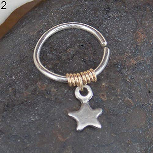 woyaOyixixV 1 Stück Lady Kupfer Ring Legierung Stern Anhänger Knorpel Hoop Piercing Oberohr Stud Silver