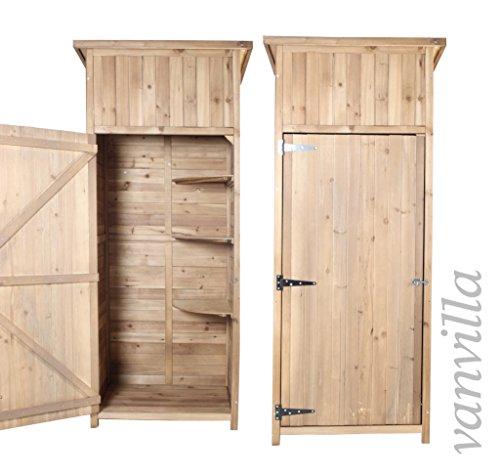 vanvilla Geräteschuppen Holz Flachdach Braun lasiert Gerätehaus Gartenschrank BWARE