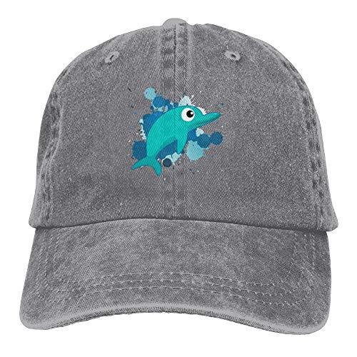 aseball Caps,Hüte, Mützen, Classic Baseball Cap, Green Dolphin Doodle Denim Hat Adjustable Women Fitted Baseball Hat ()