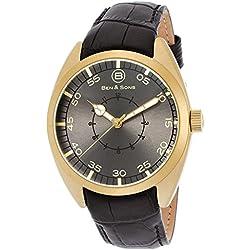 Ben & Sons Voyager Herren-Armbanduhr 46mm Armband Leder Schwarz Gehäuse Edelstahl Quarz 10014-AN-014