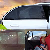 Scarlet Gem Car Window Sun Shades – Universal Fit Premium Quality Twin Pack Covering Entire Rear Side Window Providing Maximum UV Protection Allowing Window to Open and Shut