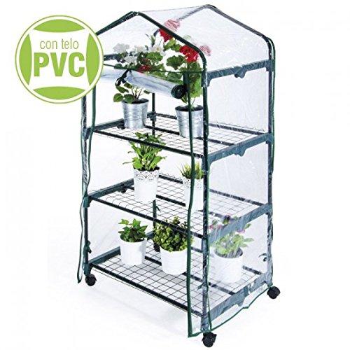 Stahl-Gewächshaus für Pflanzen und Blumen mit PVC-Abdeckung 'L' 95 x 'P' 70x 'H' 190 cm für den...