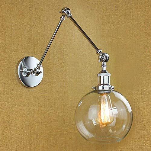 Glas-wall Washer (Wandleuchte Global Lampenschirm Verstellbar Swing 2 Arm Mini Wandleuchte Klassisch Retro Und Transparent Glas Silber Wall Washer Light)