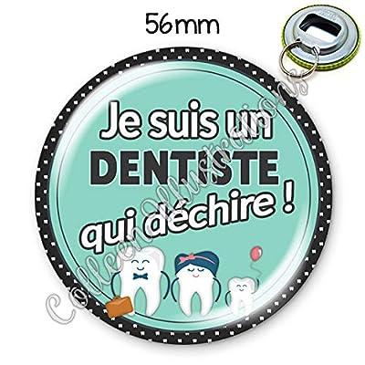 Porte-clés décapsuleur 56mm Dentiste qui déchire idée cadeau anniversaire noël profession médicale diplôme