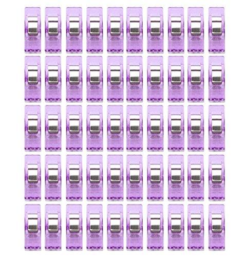 ZEZKT-Home 50pcs Nähhandwerk Quilt Bindung Kunststoff Clips Klemmen Pack Nähen Clips vielseitig sortierte Kunststoff Clips für Nähen Quilten Binding Sewing Craft Quilt Binding Plastic Clips (Violett)