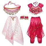 Baoblaze Traje de Danza de Vientre para Niñas Ornamentos con Borla de Moneda Artificial Disfraz de Fiesta Halloween Festivales - Rosa, L