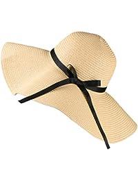Tencoz Sombrero para el Sol para Mujer, Sombrero de Paja Flexible de ala Ancha Plegable con Lazo de Lazo Encantador, Sombrero de Verano para Playa al Aire Libre Protección Anti-UV Sombrero UPF 30