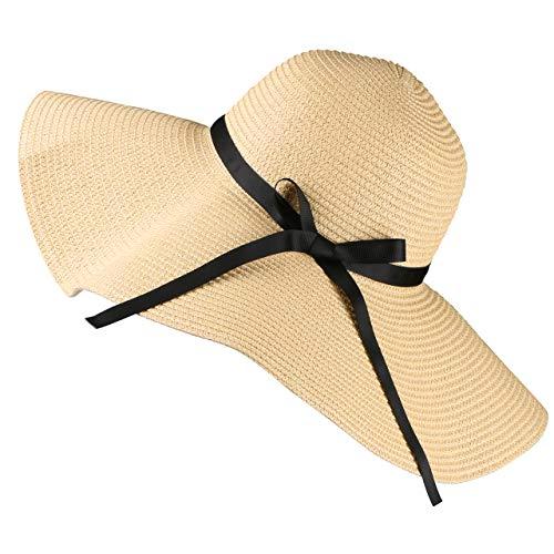 Tencoz Cappello da Sole di Paglia per Donna, Cappello da Spiaggia Estivo Tondo Grande Pieghevole Estivo-UPF 30