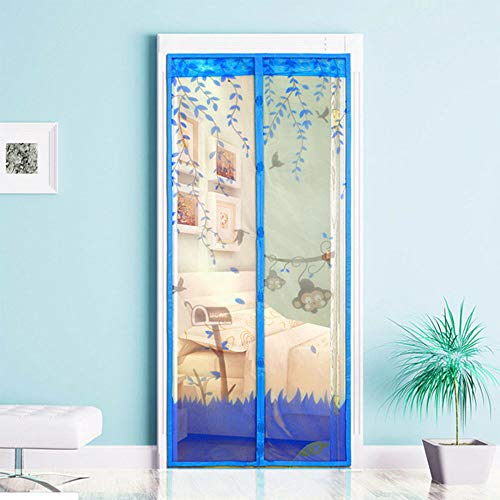 Stile di scimmia magnetica porta zanzariera magnetica porta insetti fuori zanzariera tenda in rete per porte fino a 120 x 220 cm,blue,90x210cm