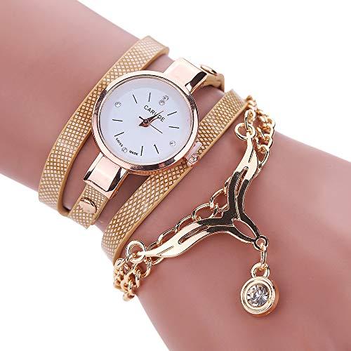 VECOLE Damenuhren Fashion Simple Exquisite Pendant Kleines Zifferblatt mit Diamanten Circle Uhren Geschenk für Frauen Quarz Analoganzeige Uhr(Beige) - Diamanten Damen Uhren Ebel