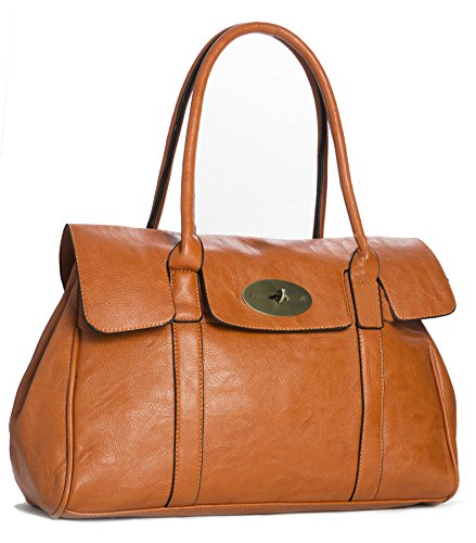 Big Handbag Shop Schultertasche aus Kunstleder mit Drehschloss, Designer-inspiriert orange
