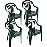 Pack of 4 Green Low Back Garden Chairs