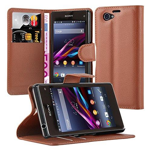 Preisvergleich Produktbild Cadorabo Hülle für Sony Xperia Z1 Compact - Hülle in Schoko Braun – Handyhülle mit Kartenfach und Standfunktion - Case Cover Schutzhülle Etui Tasche Book Klapp Style