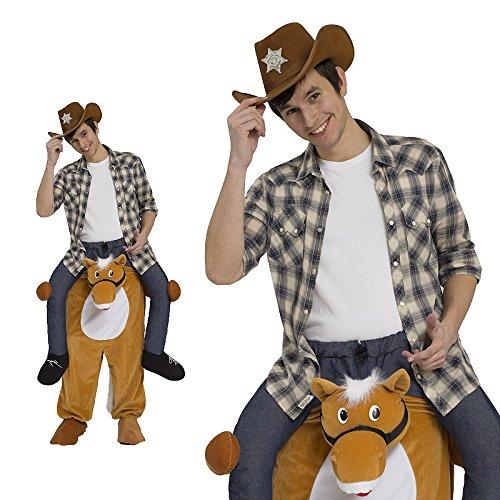 Piggyback Kostüm Herren Pferd Cowboy Ride On Maskottchen JGA Stag (Pferd Cowboy Kostüme)