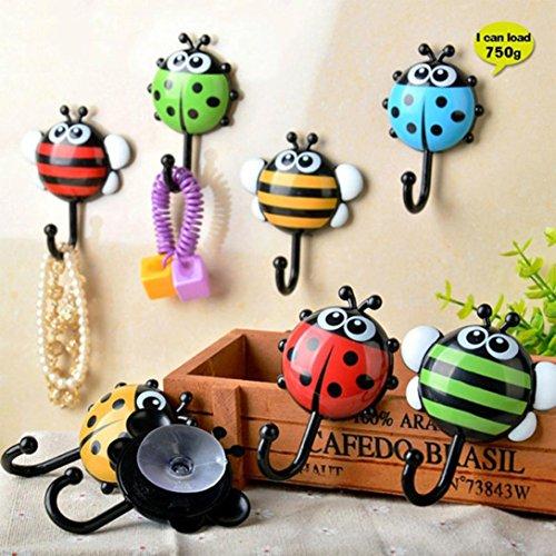 oldeagle 2Creative Marienkäfer Insekten Bee Cartoon Badezimmer Wand Haken Sucker Nail Haken Wand Decor -