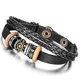 Flongo Legierung Leder Armband Armreif Schwarz Sonne Ringe Kreise Verstellbaren Geflochten Stammes Herren,Damen