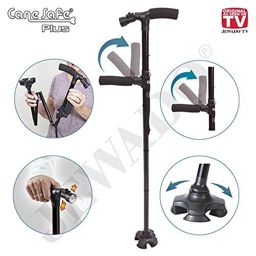 Cane Safe® Plus Sport schwenkbarer Gehstock mit LED Licht, Faltbar, Schwenkbarer weiche Griff - Original aus TV-WERBUNG (Krücken Plus)