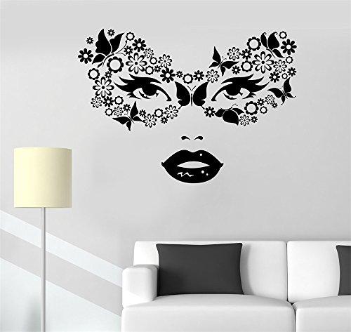 wandaufkleber spruch katze Wandmalerei Sagen Wall Decal Aufkleber Kunst Wandbild Wohnkultur Zitieren Maskerade Karneval Maske von Schmetterlingen und Blumen Frau ()