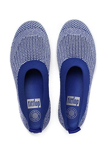 FitFlop Damen Uberknit Slip-On Ballerina Geschlossene Ballerinas, Schwarz, One Size Mazarine Blue / White