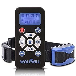 WOLFWILL Collier Dressage Chien, 800Yard sans Douleur humanamente Professionnelle Rechargeable imperméable Vibration Son/lumière de Flash/automatizacion