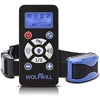 Collar Adiestramiento Perros, WOLFWILL 800 Yard sin dolor y humanamente Profesional Recargable e impermeable vibración y Sonido / luz de Flash / automatizacion