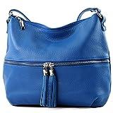 modamoda de - ital. Ledertasche Damentasche Umhängetasche Tasche Schultertasche Leder T159, Präzise Farbe:Blau