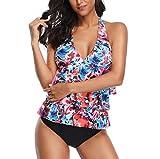 Damen Sexy Bikini Einteiliger Print Bademode Push-Up Gepolstert, JiaMeng Badeanzug Beachwear