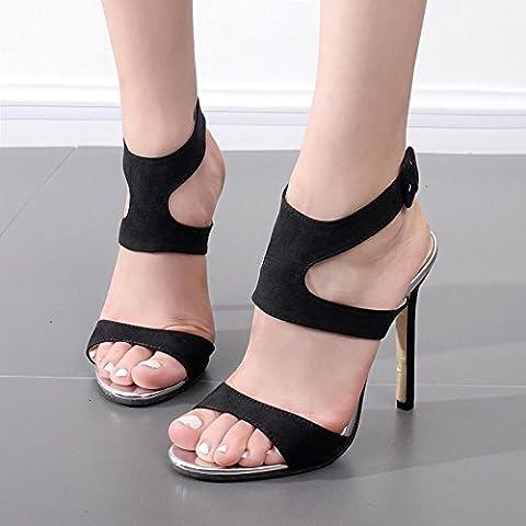 dgsa Fashion Dance chaussures ou Sandales ultra high heel Chaussures _ de l'Europe et les High Heel Fine avec Sandales Femmes d'été Satin Noir Sexy lèvres ultra 40poisson code, Couleur abricot,