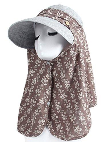 Femme Été Protecteur du visage Protection du visage UV Hat Ride La voiture électrique peut être pliée Floral Large Eaves Sun Hat ( Couleur : 3 ) 9