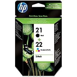 HP 21-22 - Pack de ahorro de 2 cartuchos de tinta Original HP 21 Negro, HP 22 Tricolor para HP DeskJet, HP OfficeJet, HP PSC, HP Fax
