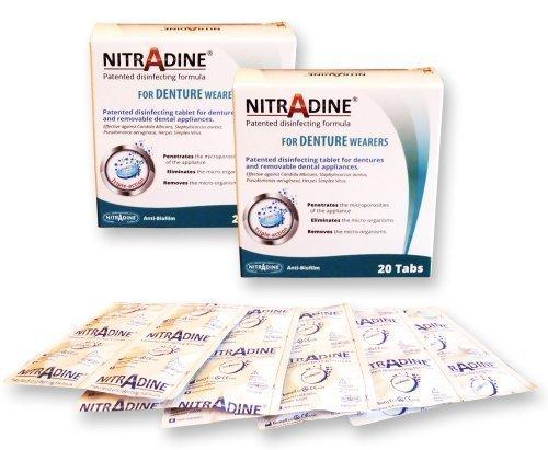 2 x Nitradine Zahnersatz Senioren Tabletten - 2 Packungen, 40 Tabletten für Putz- & Desinfizierend 20 wochen zubehör