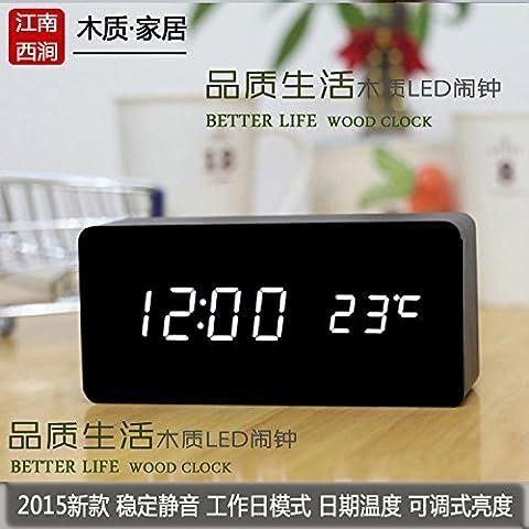 Upper-Peu de créativité paresseux réveil en bois LED lumière nuit mute radio-réveil horloge numérique,cuboïde noir-blanc