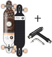 Rune Longboard komplett mit BOLZEN Achsen (Naegling Longboard #2 Bamboo flex 104cm + Fantic26 Skatetool)