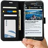 Coque Galaxy S7 Edge, Abacus24-7 Etui à Rabat en Cuir, Housse de Protection pour Samsung Galaxy S7 Edge, Format Portefeuille avec Emplacements Carte, Fonction Support et Languette Aimantée - Noir
