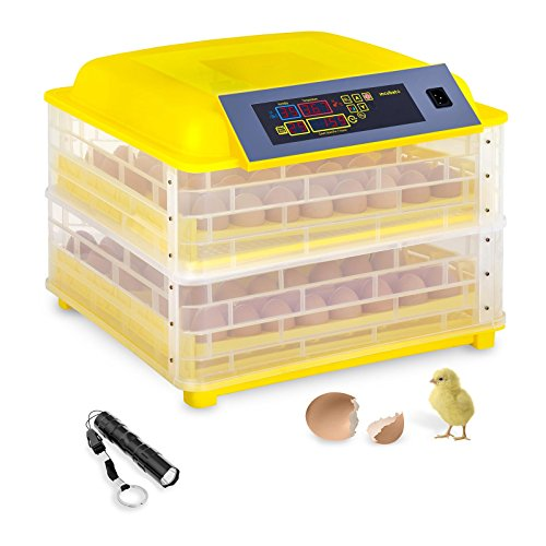 Incubato Incubadora de Huevos Automatica IN-96DDI (96 Huevos, 120 W, Linterna ovoscopio incl, Control de temperatura inteligente 20-50 °C)